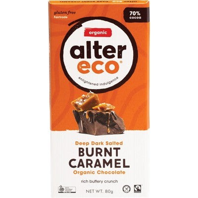 Alter Eco Chocolate 80g, Dark Salted Burnt Caramel Flavour 70% Cacao, Certified Organic