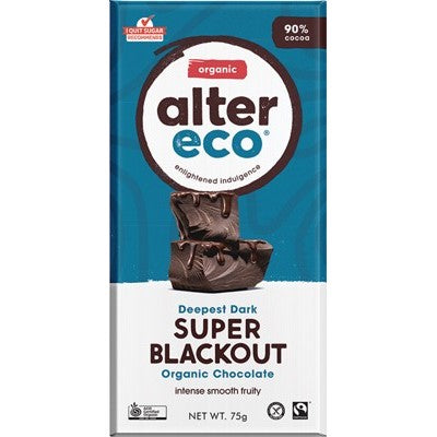 Alter Eco Chocolate 80g, Deepest Dark Super Blackout Flavour 90% Cacao, Certified Organic
