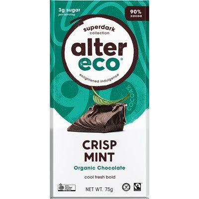 Alter Eco Chocolate 80g, Dark Crisp Mint Flavour 90% Cacao, Certified Organic