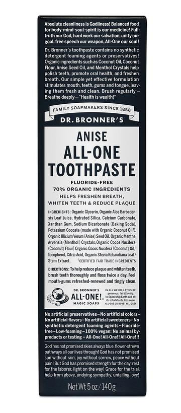 Dr Bronner's Fluoride Free All-One Toothpaste 140g Anise
