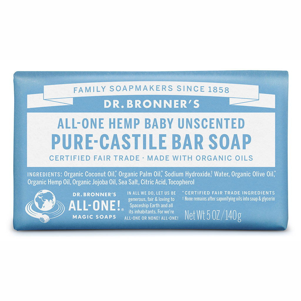 Dr Bronner's All-One Hemp Unscented Baby Mild Pure Castile Soap Bar 140g