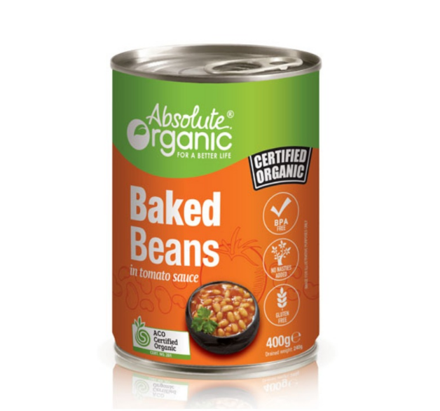 Absolute Organic Baked Beans In Tomato Sauce 400g