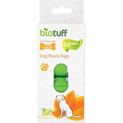 BioTuff Compostable Dog Waste Refill Bags 4 X 15 Bag Rolls