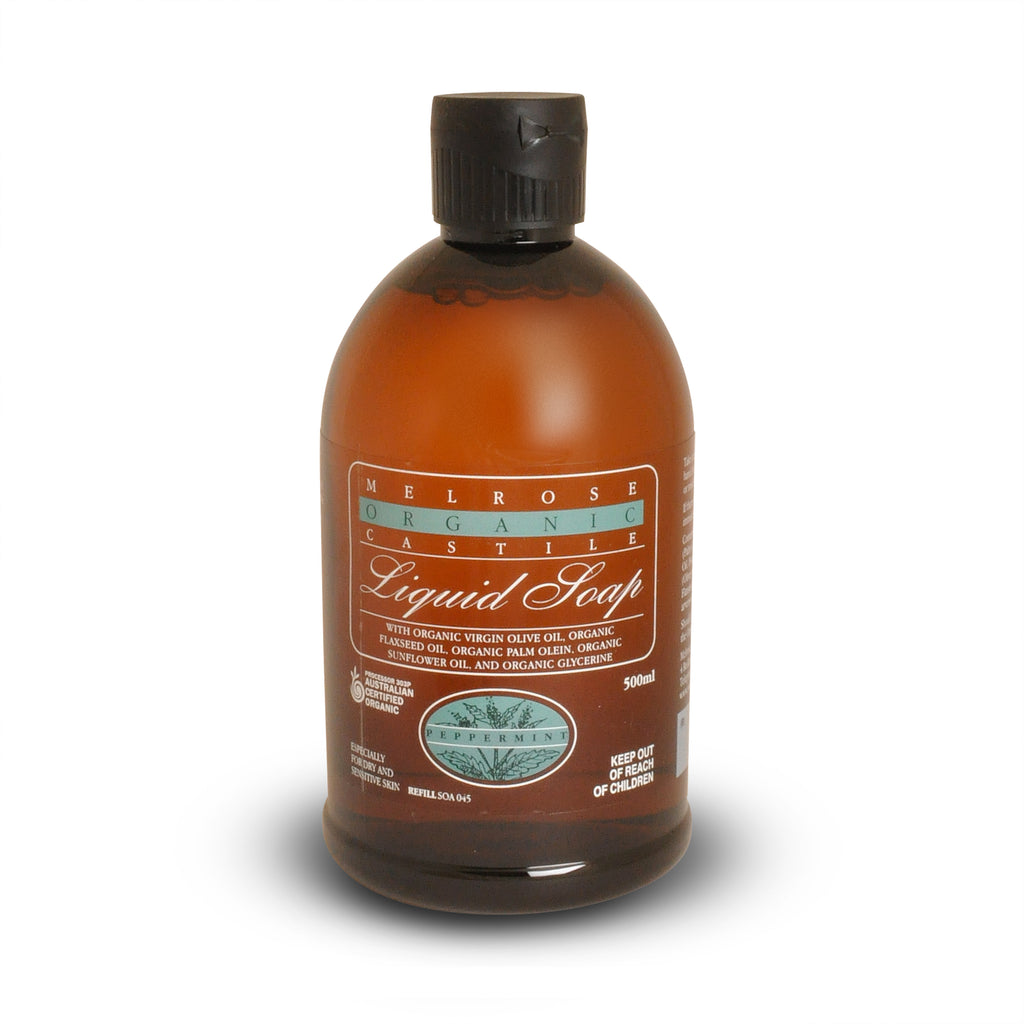 Melrose Organic Peppermint Castile Liquid Soap Refill 500ml