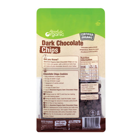 Absolute Organic Dark Chocolate Chips 350g ACO