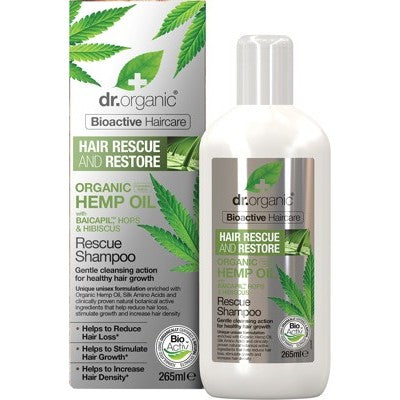Dr Organic Rescue & Restore Shampoo 265ml, Hemp Oil Organic