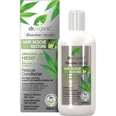 Dr Organic Rescue & Restore Conditioner 265ml, Hemp Oil Organic