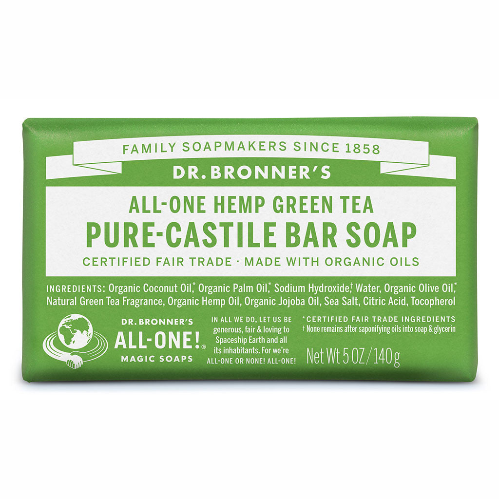 Dr Bronner's All-One Hemp Green Tea Pure Castile Soap Bar 140g