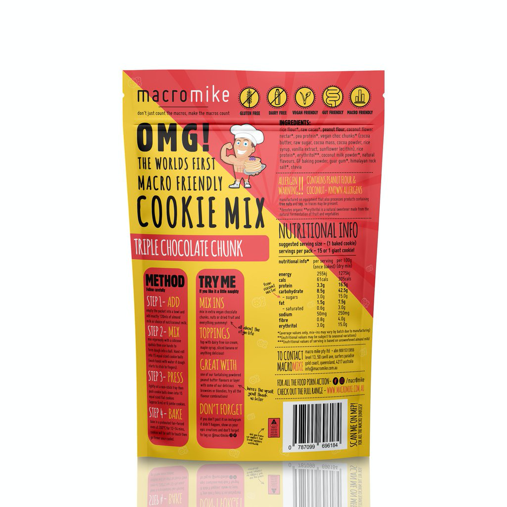 Macro Mike Macro Friendly Cookie Mix 300g, Triple Chocolate Chunk Flavour