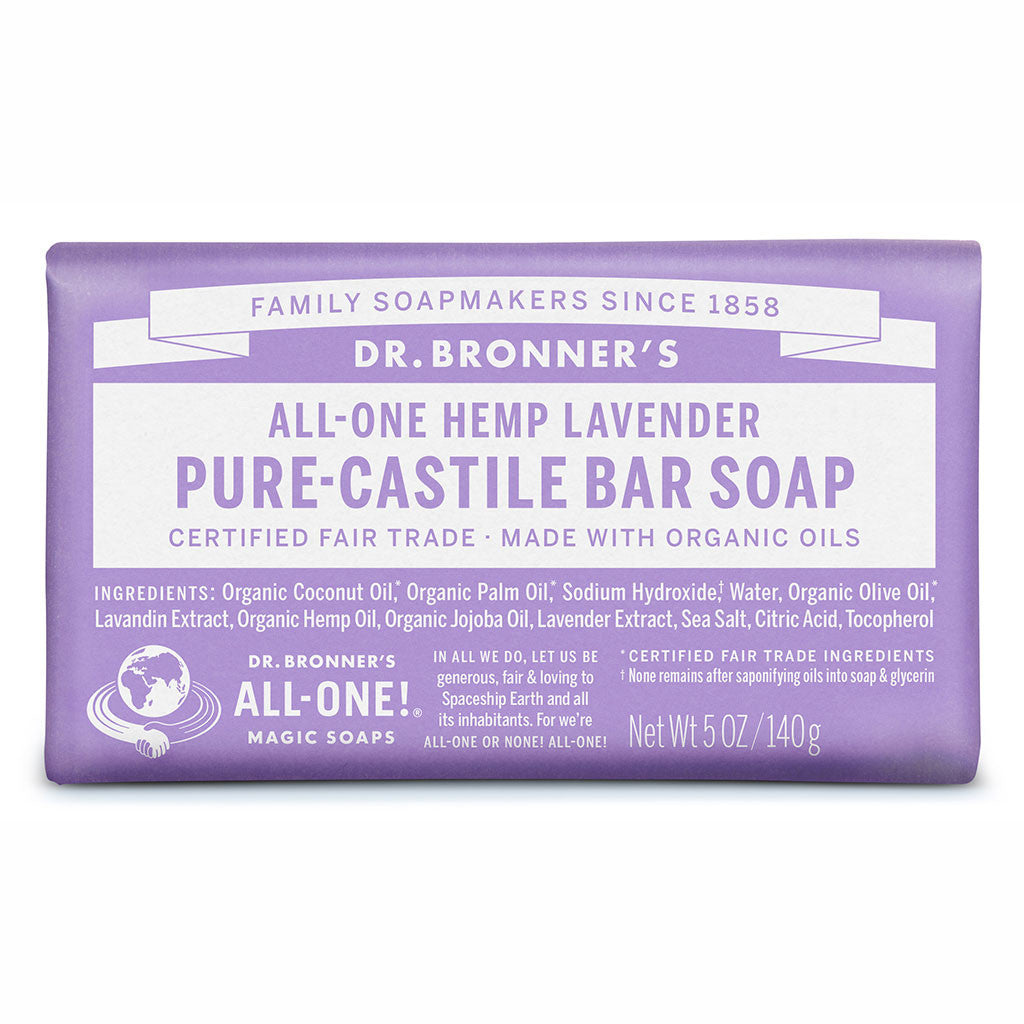 Dr Bronner's All-One Hemp Lavender Pure Castile Soap Bar 140g