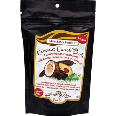 Little Zebra Chocolates Carob Buds 85g Coconut