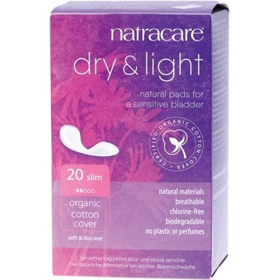 Natracare Organic Cotton Dry + Light Incontinence Pads 20 Pack