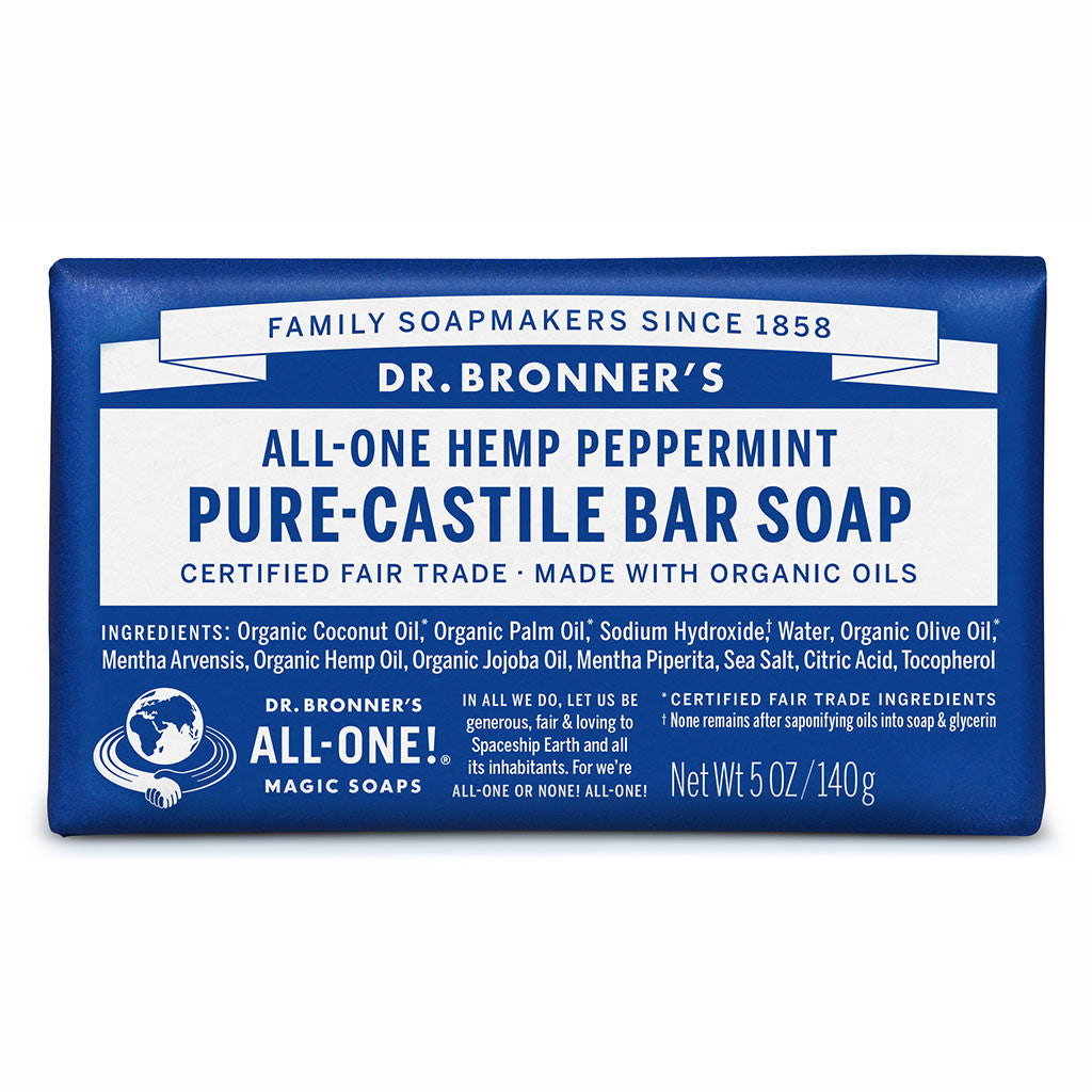 Dr Bronner's All-One Hemp Peppermint Pure Castile Soap Bar 140g