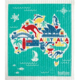 Retro Kitchen 100% Biodegradable Dishcloth Australia Map