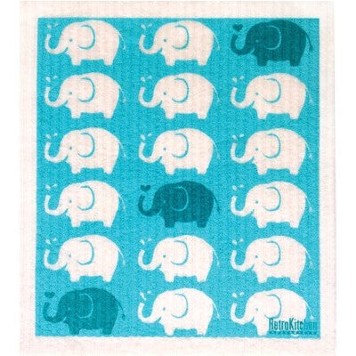 Retro Kitchen 100% Biodegradable Dishcloth Elephants