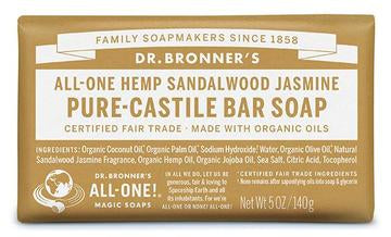 Dr Bronner's All-One Sandalwood Jasmine Pure Castile Soap Bar 140g