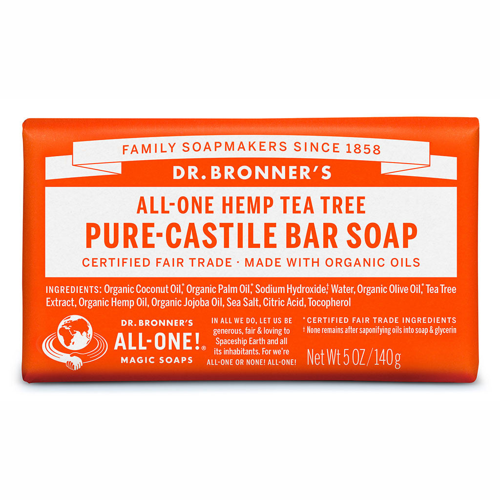 Dr Bronner's All-One Hemp Tea Tree Pure Castile Soap Bar 140g
