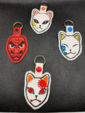 ITH Digital Embroidery Pattern for DS Makomo Mask Snap Tab / Key Chain, 4X4 Hoop