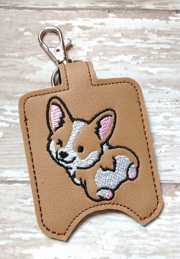 ITH Digtial Embroidery Pattern for Corgi Bum Sanitizer Holder, 5X7 Hoop