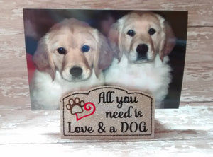 ITH Digital Embroidery Pattern for Note - Photo Holder Love & a Dog, 4X4 or 5X7 Hoop