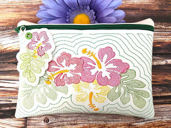 ITH Digital Embroidery Pattern for Hibiscus Echo 5X7 Zipper Pouch Unlined with Zipper Pull, 5X7 Hoop