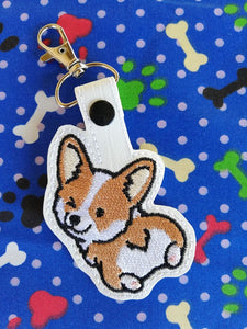 ITH Digital Embroidery Pattern for Set of 2 Corgi Bum Snap Tab / Key Chain, 4X4 Hoop