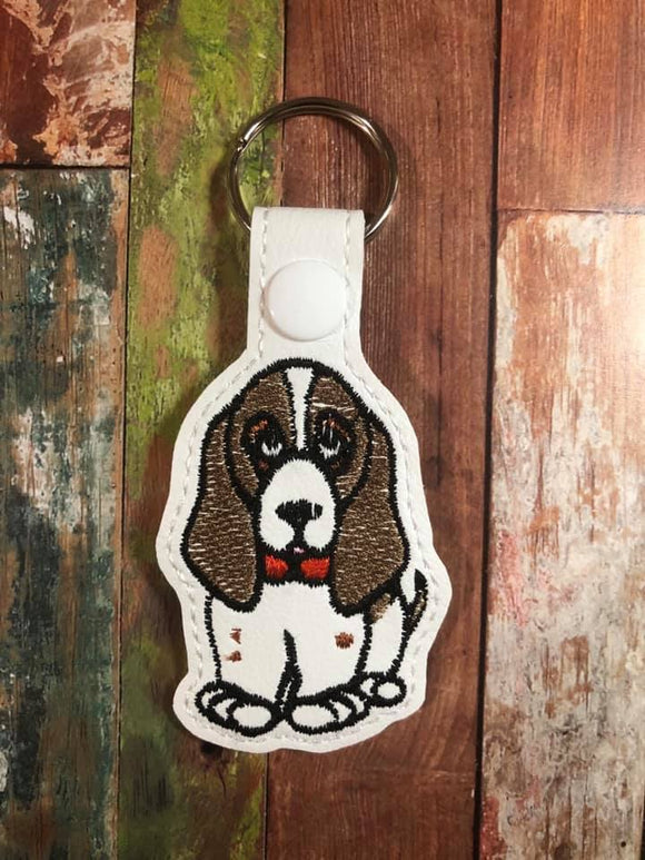 ITH Digital Embroidery Pattern for Basset Hound Snap Tab / Key Chain, 4X4 Hoop
