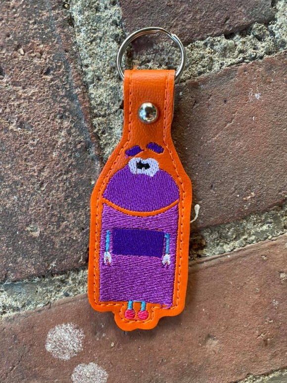 ITH Digitl Embroidery Pattern for SB Purple Bo Snap Tab / Key Chain, 4X4 Hoop