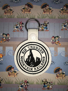 ITH Digital Embroidery Pattern for Big Thunder Mnt RR Snap Tab / Key Chain, 4X4 Hoop