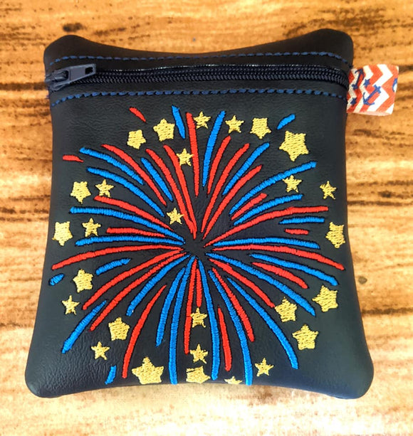ITH Digital Embroidery Pattern for Fire Works Bloom Cash/Card 4.8 X 3.9 Zipper Pouch, 5X7 Hoop