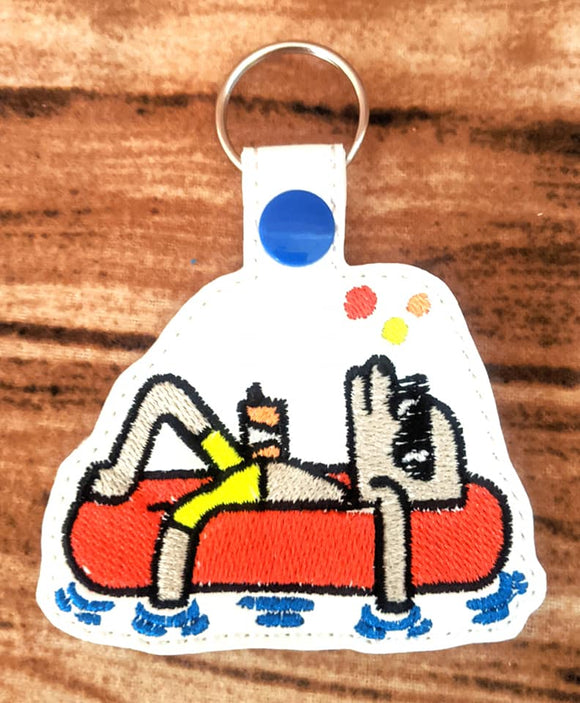 ITH DIgital Embroidery Pattern for Dog Tired Rafting Snap Tab / Key Chain, 4X4 Hoop