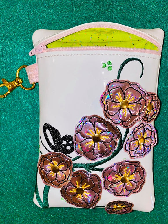 ITH Digital Embroidery Pattern For 3D Cherry Blossom 5X7 Tall Lined Zipper Pouch, 5X7 Hoops