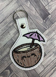 ITH Digital Embroidery Pattern for Coconut Umbrella  Drink Snap Tab / Key Chain, 4X4 Hoop