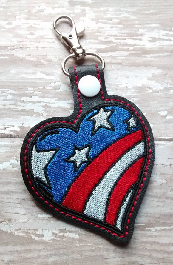 ITH Digital Embroidery Pattern for Heart Stars & Stripes Snap Tab / Key CHain, 4X4 Hoop