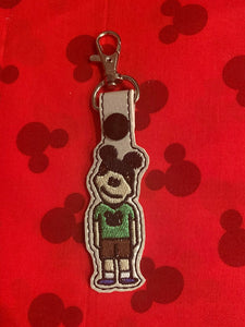 ITH Digital Embroidery Pattern for Theme Park Family Figure Son Snap Tab / Key Chain, 4X4 Hoop