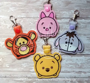 ITH Digital Embroidery Pattern for T-sum Set of 4 Yellow Bear and Friends Snap Tabs / Key Chains, 4X4 Hoop