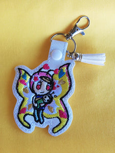 ITH Digital Embroidery Pattern for Toki Butterfly Mama Snap Tab / Key Chain, 4X4 Hoop