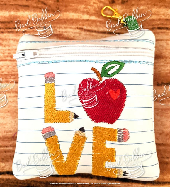 ITH Digital Embroidery Pattern for School LOVE 4X4 Zipper Pouch, 4X4 Hoop