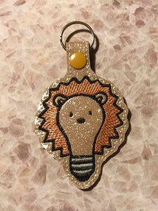 ITH Digital Embroidery Pattern for Lion Bulb Snap Tab / Key Chain, 4X4 Hoop