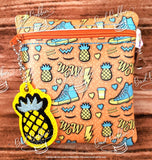 ITH Digital Embroidery Pattern for AVS Pineapple Zipper Pull, 4X4 Hoop