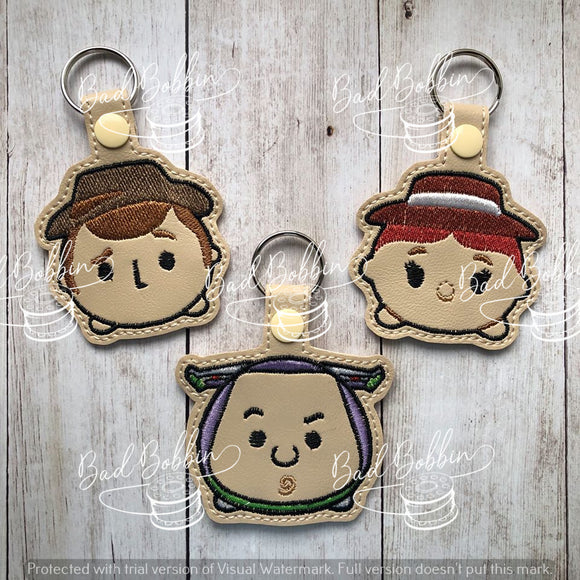 ITH Digital Embroidery Pattern for T-sum Toy Tale Set of 6 Snap Tabs / Key Chains, 4X4 Hoop