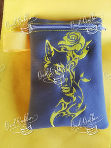 ITH Digital Embroidery Pattern for Wolf Rose Tall Lined 5X7 Zipper Bag, 5X7 Hoop