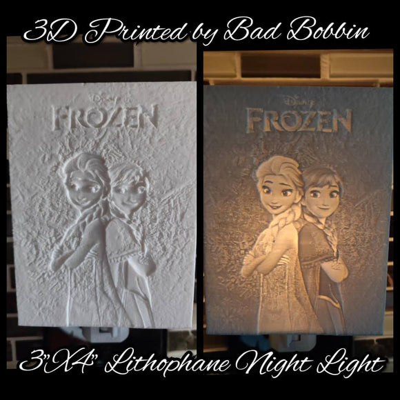 Lithophane Night Light Frozen Sisters