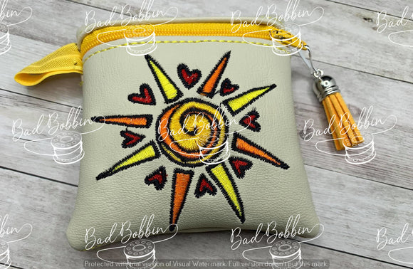 ITH Digital EMbroidery Pattern for Love of Sun 4X4 Zip Pouch, 4X4 Hoop