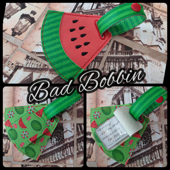 ITH Digital Embroidery Pattern for Watermelon Luggage Tag, 4X4 & 5X7 Hoop or 6X10 Hoop