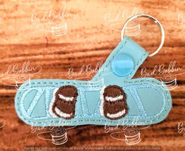 ITH Digital Embroidery Pattern for AVs Snowboard Snap Tab / Key Chain, 4X4 Hoop