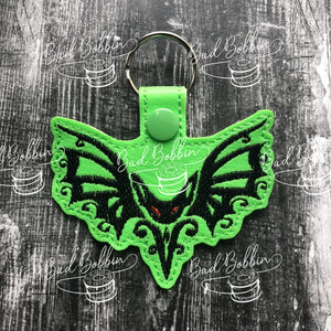 ITH Digital Embroidery Pattern for Tribal Bat II Snap Tab / Key Chain, 4X4 Hoop