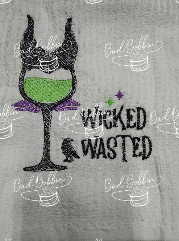 ITH Digital Embroidery Pattern for Wicked Wasted Sketch 5X7 Design, 5X7 Hoop