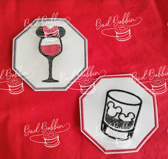 ITH Digital Embroidery Pattern for Mick & Min Drink Coaster Set of 2, 4X4 Hoop