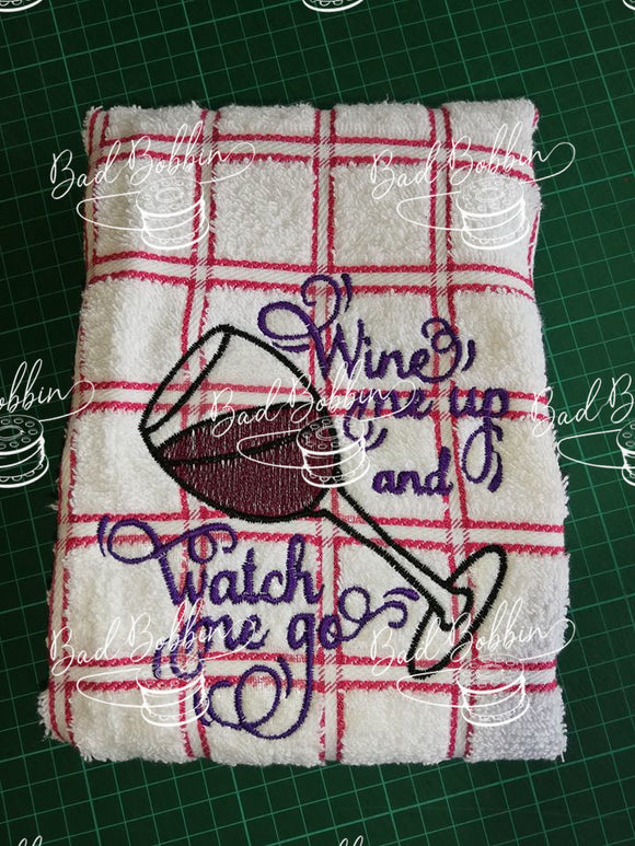 ITH Digital Embroidery Pattern for Wine Me Up Sketch 5X7 Design, 5X7 Hoop